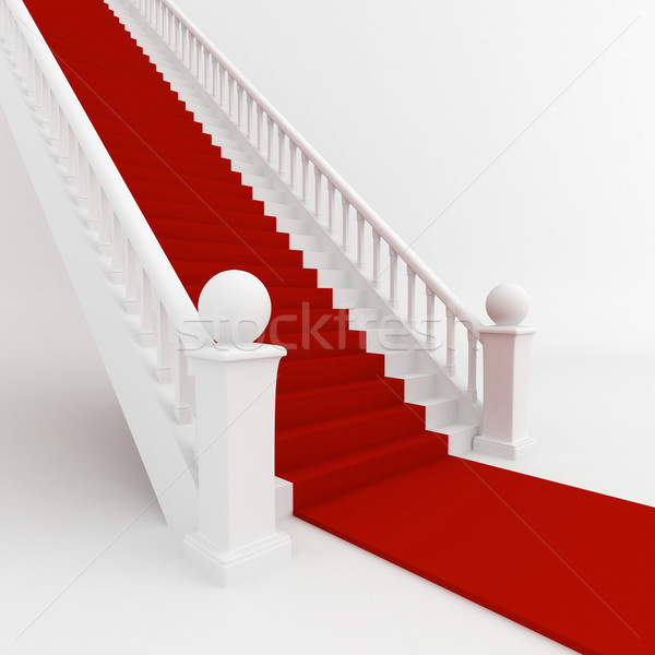 Tapis rouge 3d illustration escaliers couvert rouge tapis Photo stock © lenm