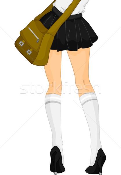 Iskolás lány lábak illusztráció visel rövid szoknya Stock fotó © lenm