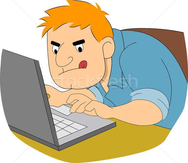 Guy Schriftsteller eingeben schnell Illustration Junge Stock foto © lenm