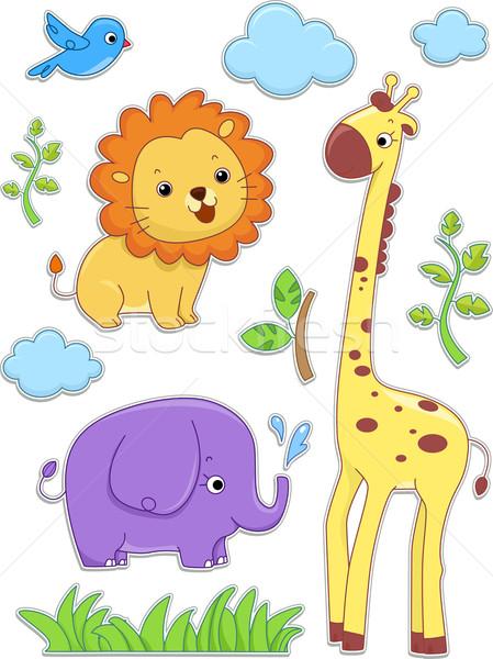 Safari dieren sticker ontwerpen illustratie gras dieren Stockfoto © lenm