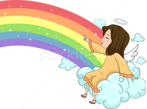 Girl Angel Sitting on Cloud with a Rainbow Stock photo © lenm