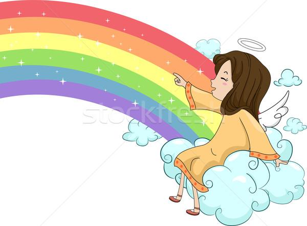 Dziewczyna anioł posiedzenia Chmura tęczy ilustracja Zdjęcia stock © lenm