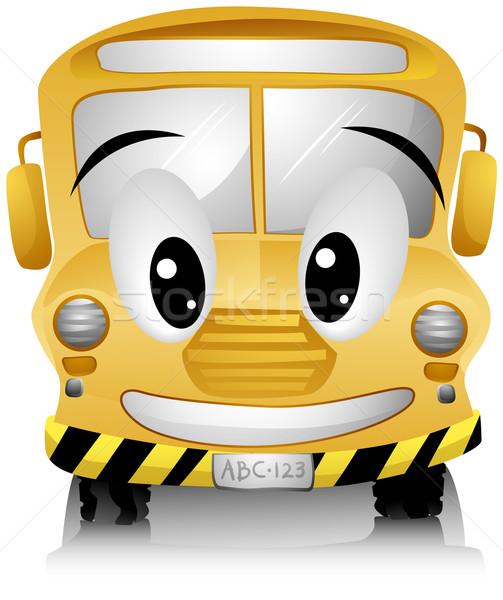 Iskolabusz mosolyog vágási körvonal arc boldog oktatás Stock fotó © lenm