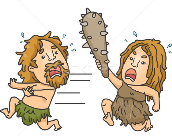 Caveman Fight Stock photo © lenm