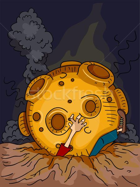 Meteoriet illustratie man groot grafische mannelijke Stockfoto © lenm