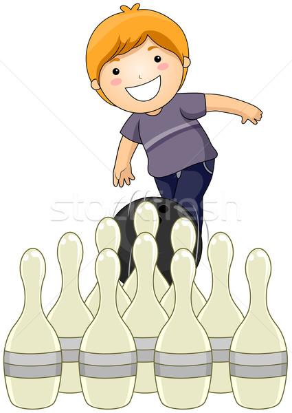 Bowling chłopca gry dziecko dziecko Zdjęcia stock © lenm