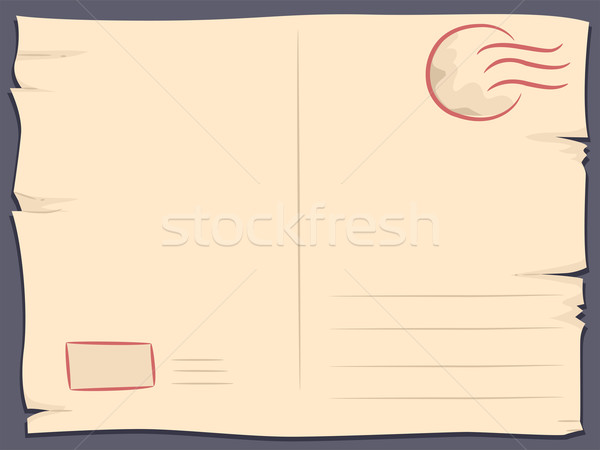 Carte postale illustration design fond lettre tampon Photo stock © lenm