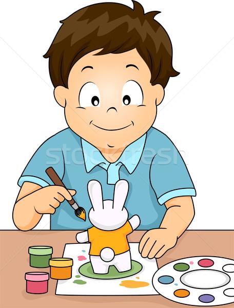 Szobrocska festmény fiú illusztráció nyúl fiatal Stock fotó © lenm