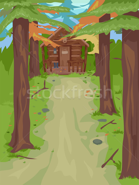Cabin in the Woods Stock photo © lenm
