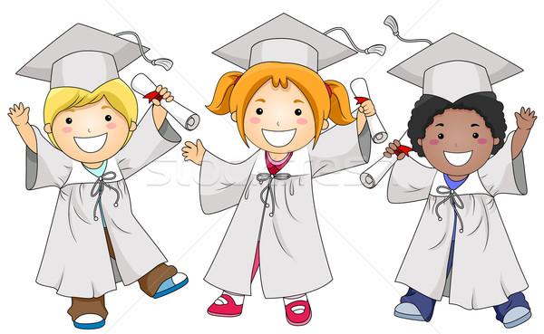 Stockfoto: Afgestudeerden · kleine · groep · kinderen · poseren · kinderen · school