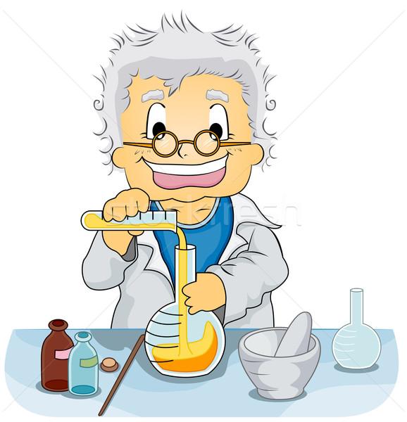 Cientista laboratório ilustração ciência estudar cara Foto stock © lenm