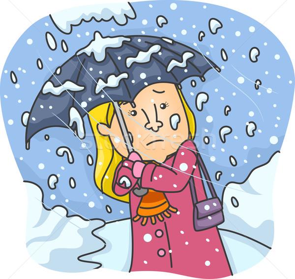 Dziewczyna ciężki śniegu spadek ilustracja kobieta Zdjęcia stock © lenm