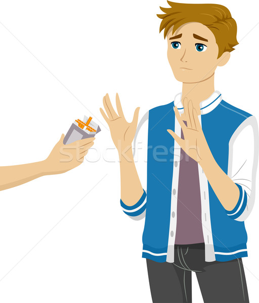 Teen Guy Refuse Cigarettes Stock photo © lenm