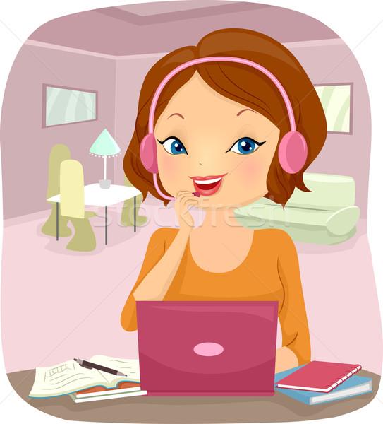 Girl Online Education Stock photo © lenm