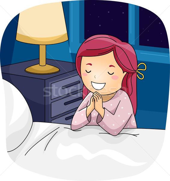 Kid fille prier lit illustration petite fille Photo stock © lenm