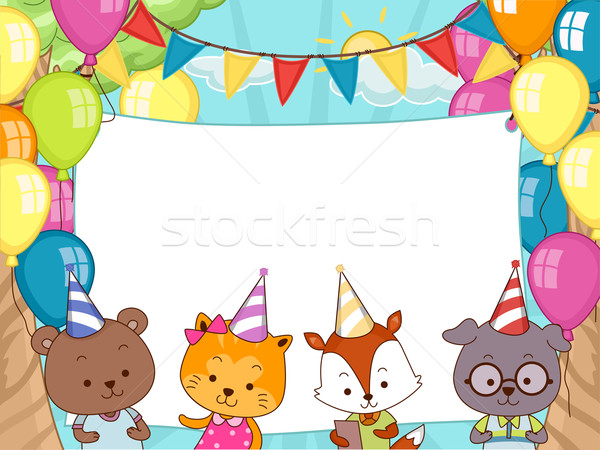 Animals Birthday Party Banner Stock photo © lenm