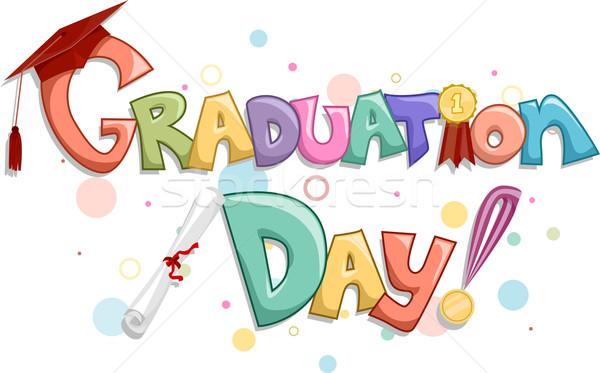 Stock fotó: érettségi · nap · szavak · érem · ünneplés · szöveg