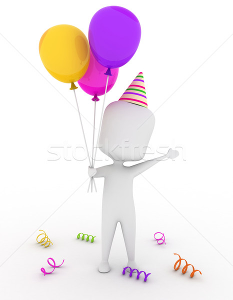 Partie guy 3d homme chapeau ballons Photo stock © lenm
