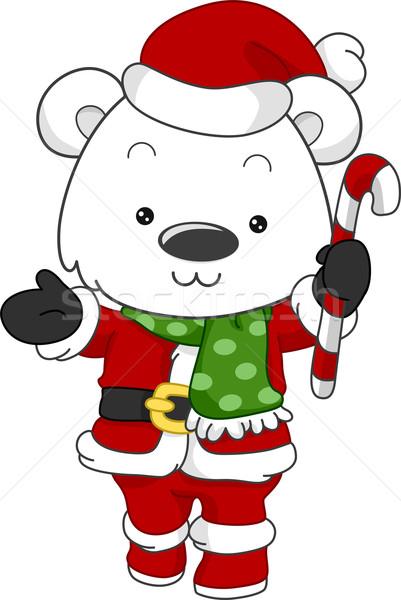 Jegesmedve mikulás illusztráció mikulás állat ünnepek Stock fotó © lenm