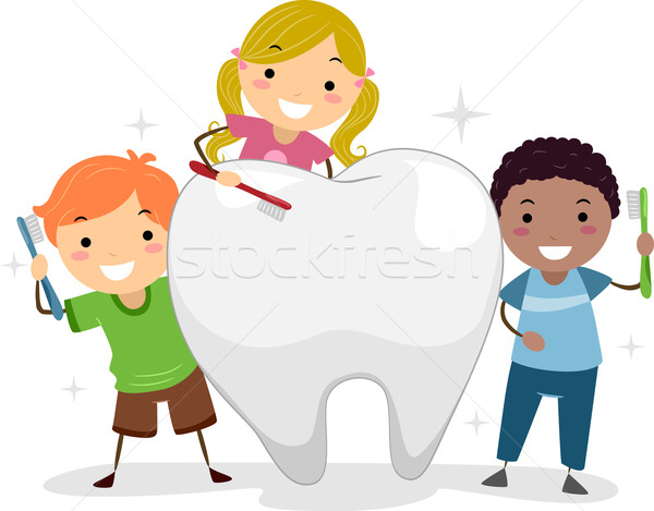 Kids Brushing a Tooth Stock photo © lenm