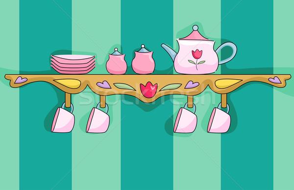 Tea Set Shelf Stock photo © lenm