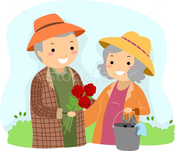 Senior Couple Gardening Stickman Stock photo © lenm