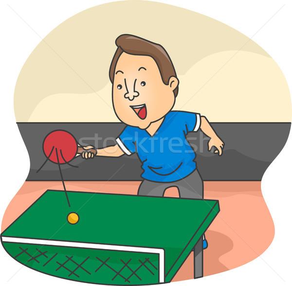 Maschio tennis da tavolo giocatore illustrazione azione uomo Foto d'archivio © lenm