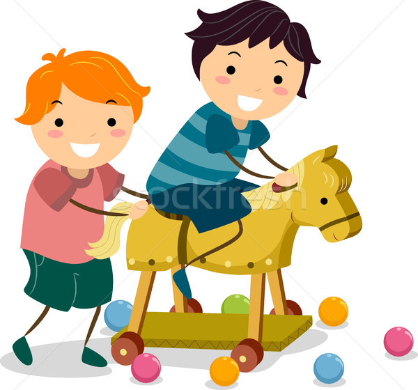 Boys with a Wooden Toy Horse Stock photo © lenm