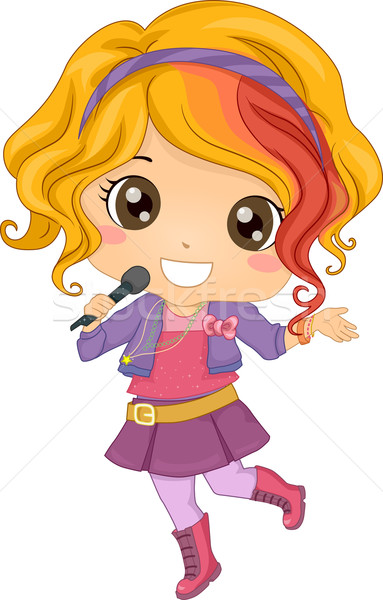 Petite fille pop star illustration sans fil Photo stock © lenm