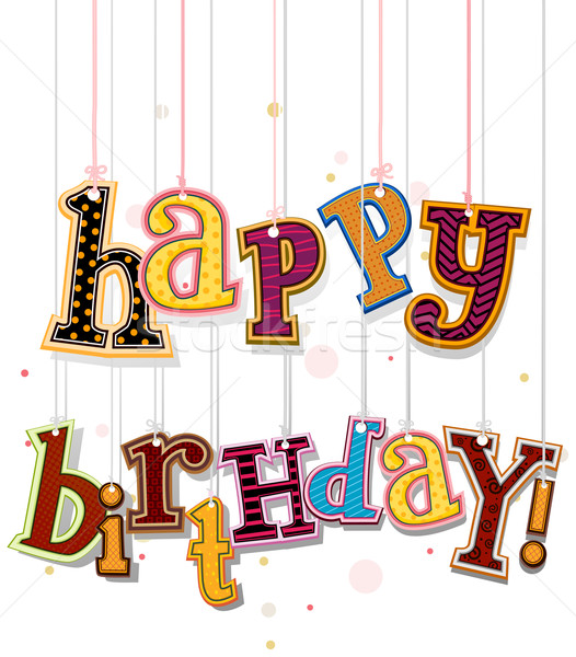 Stock photo: Happy Birthday Greeting On Strings