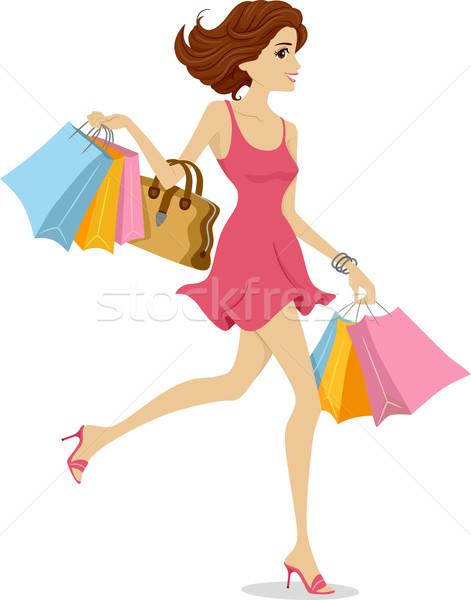 Dziewczyna ilustracja różowy sukienka szczęśliwie Zdjęcia stock © lenm