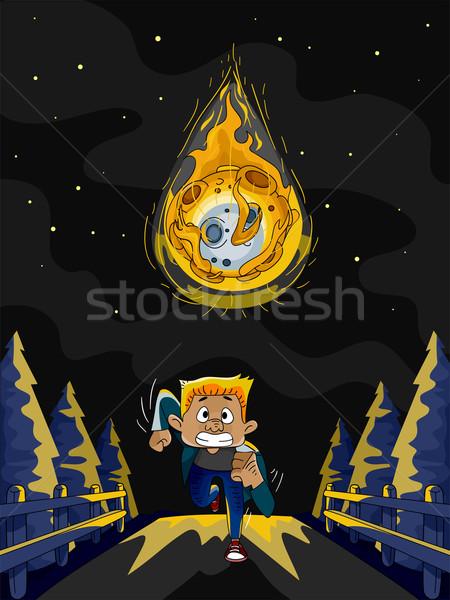 Meteoor lopen illustratie man lopen ontsnappen Stockfoto © lenm