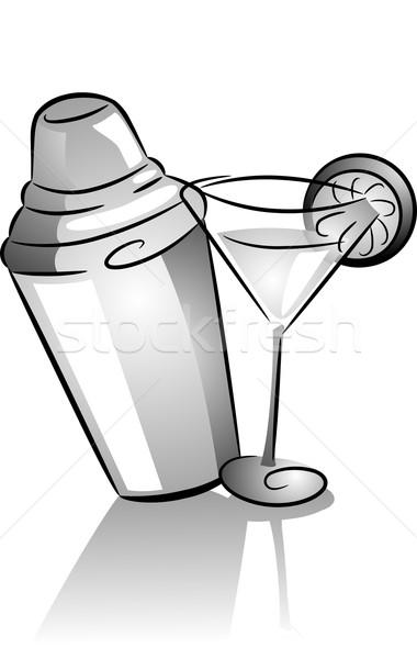 Koktél shaker üveg ikonok ikon illusztráció Stock fotó © lenm