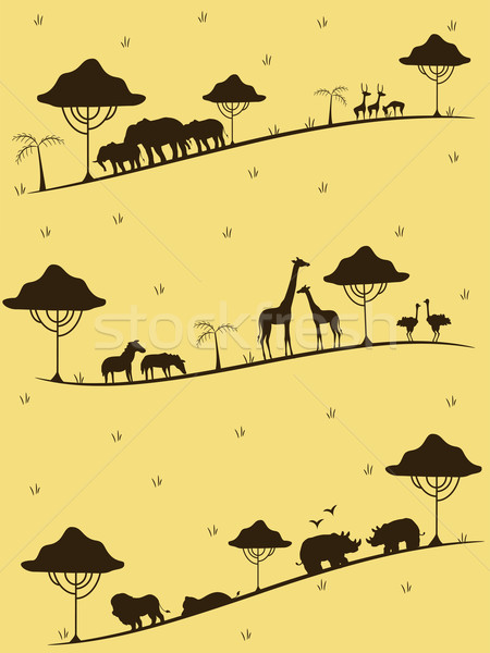 サファリ動物 シルエット 実例 シルエット 砂漠 グラフィック ストックフォト © lenm