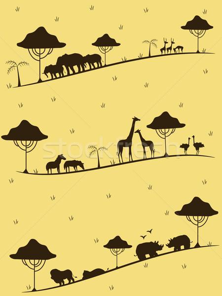 Safari dieren silhouet illustratie silhouetten woestijn grafische Stockfoto © lenm
