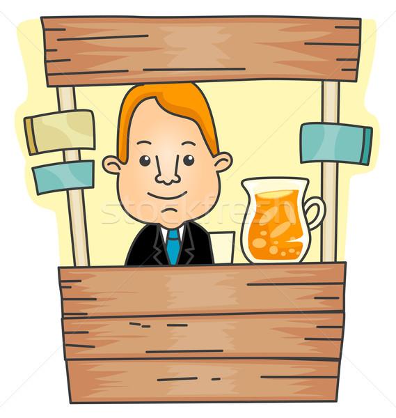 Limonata stand imprenditore succo cartoon Foto d'archivio © lenm