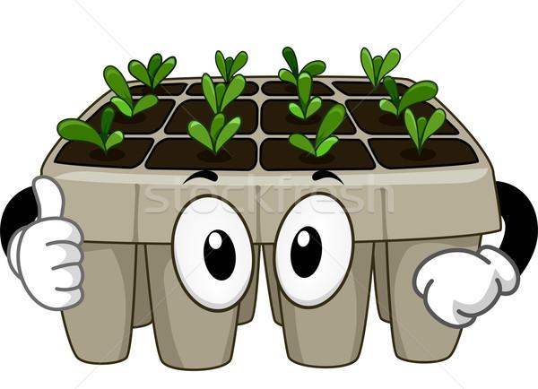 Fide tepsi maskot örnek yeşil bitkiler Stok fotoğraf © lenm