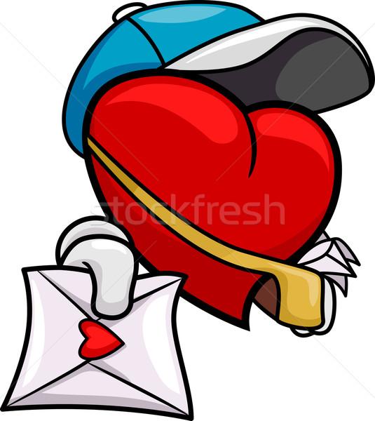 Coração carteiro ilustração amor carta romance Foto stock © lenm