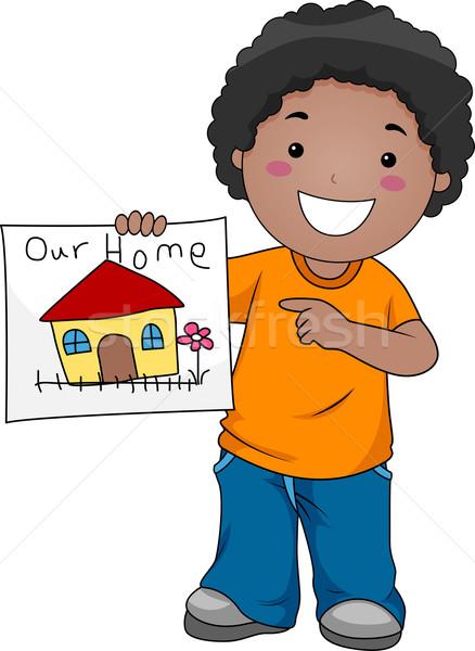 Kid home Illustration Zeichnung Kinder Stock foto © lenm