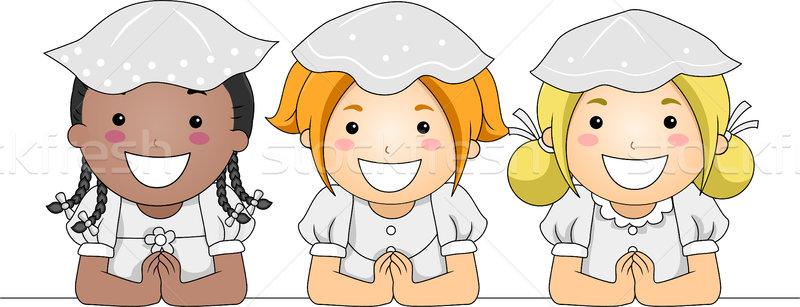 úrvacsora gyerekek illusztráció elsőáldozás gyermek fiú Stock fotó © lenm