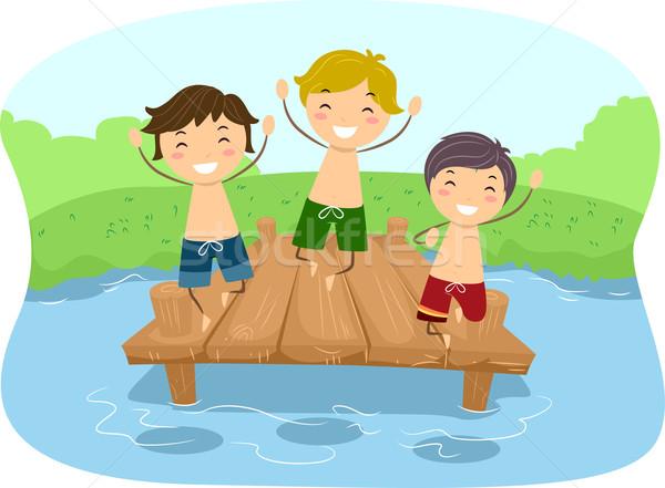 Doca meninos ilustração crianças brincando crianças criança Foto stock © lenm