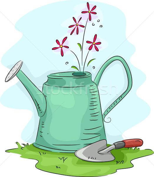 じょうろ 実例 花 庭園 芝生 漫画 ストックフォト © lenm
