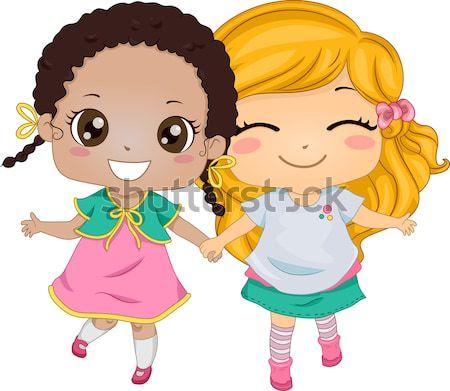 азиатских иллюстрация девочек , держась за руки ребенка друзей Сток-фото © lenm