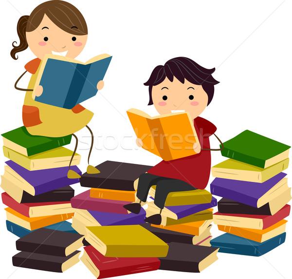 Párosít, flörtölés, könyvtár. | CanStock