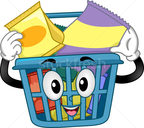 Shopping Basket Mascot with Snacks Stock photo © lenm