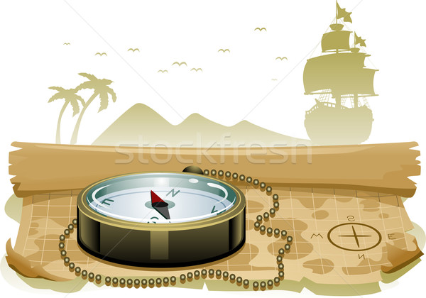 Карта сокровищ компас иллюстрация сидят Top карта Сток-фото © lenm