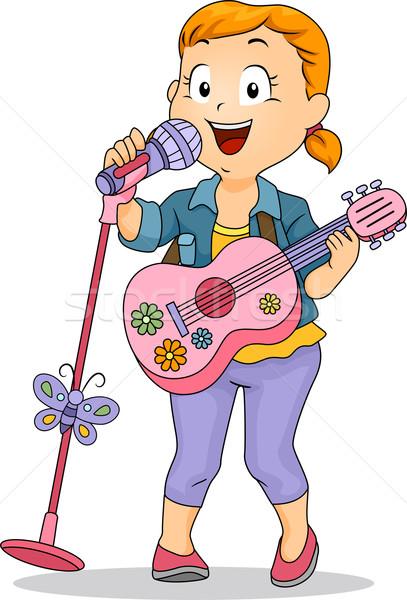 Kicsi gyerek lány előad játék gitár Stock fotó © lenm