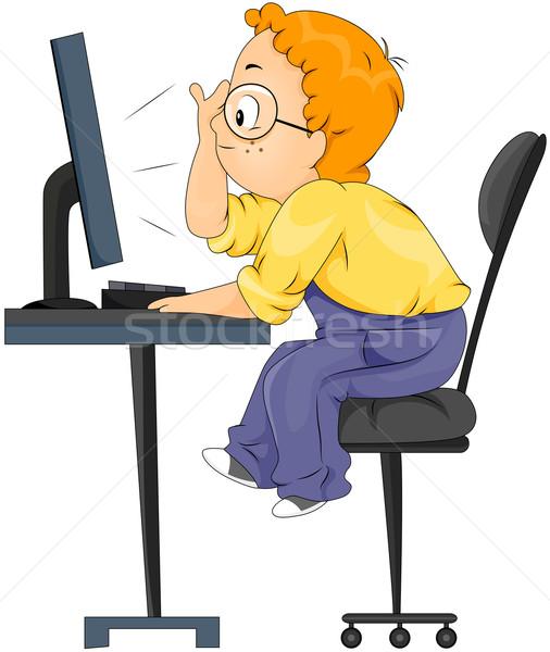 ストックフォト: コンピュータ · 子供 · 少年 · 見える · 子