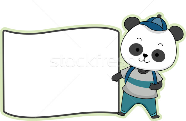 Panda etiqueta ilustração pronto imprimir lado Foto stock © lenm