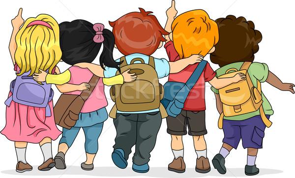 Felfele néz hátulnézet illusztráció csoport gyerekek néz Stock fotó © lenm